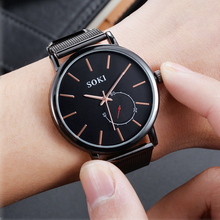 Leisure Ladies Unisex Quartz Watch Lastest SOKI Concise Mesh Strap Multicolor Black Rose Gold Round Relogio Feminino