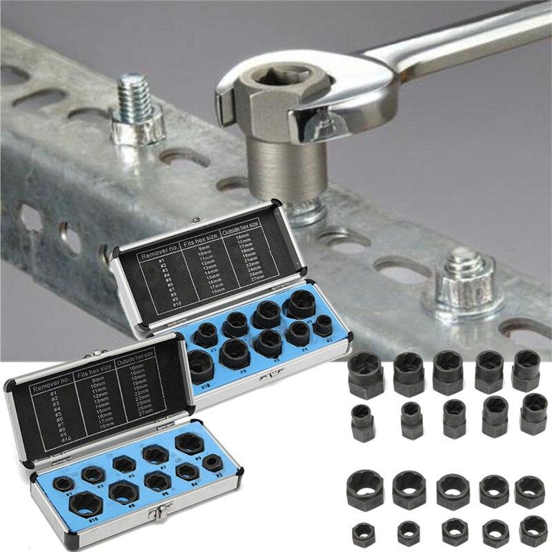 10 teile/satz Beschädigt Schrauben Muttern Schrauben Remover Extractor Entfernung Werkzeuge Set Threading Werkzeug Kit Schwarz Muttern Mit 2 Arten
