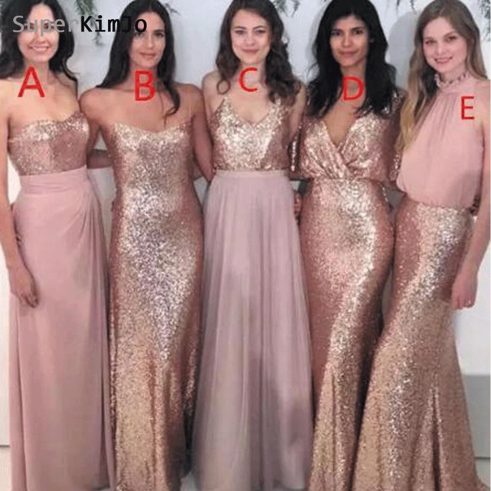 SuperKimJo Dépareillées robes de demoiselles d'honneur Longue 2019 Rose Sequin Rose Pas Cher robe pour invité de mariage pour la Fête De Mariage
