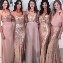 SuperKimJo Mismatched Bridesmaid Dresses Long 2019 Rose Sequin Pink Cheap Wedding Guest Dress for Party