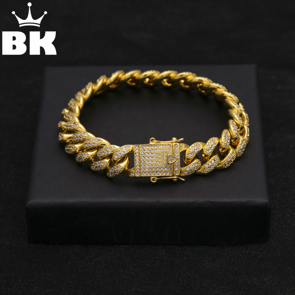 13.5mm Copper Curb Cuban Bracelet Iced Out CZ 7inch /8inch Bracelet Gold Silver Color For Men Luxury Box Clasp Drop Shipping