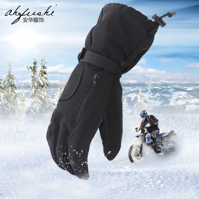 Motorcycles, ski gloves, men's winter cycling, thickening,Outdoor Windproof Ski Gloves Waterproof Winter Keep Warm Snowboarding