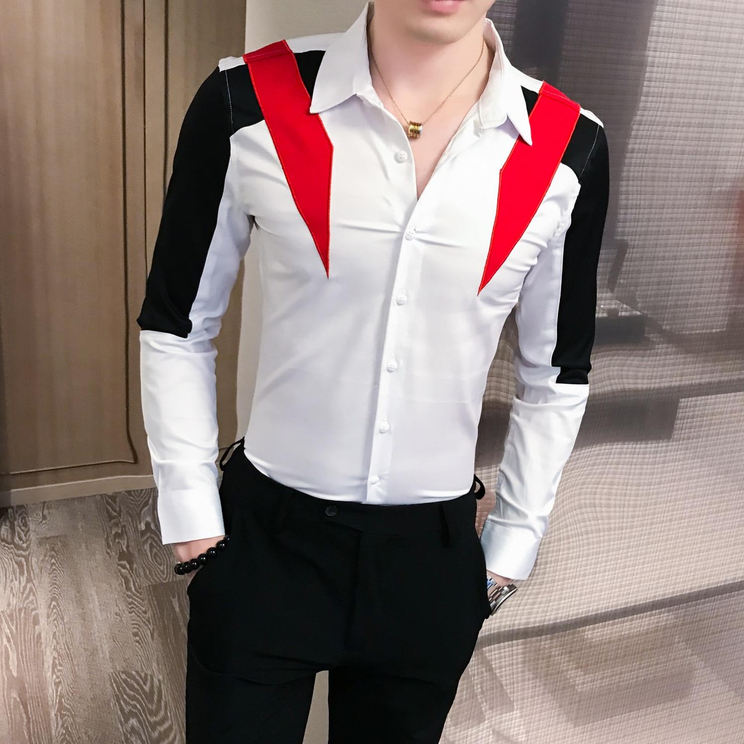 Casual Shirts Club Tuxedo 3XL-M Sale Men Shirt 2019 Autumn New Contrast Color Patchwork Shirt Men Long Sleeve Pullover Mens