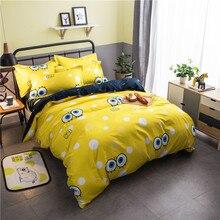 Nordic minimalist cartoon SpongeBob Bedding Set geometric grid 4/3pcs Duvet Cover Sets Soft Polyester Bed Linen Flat Sheet