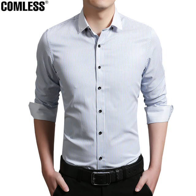 100% High-quality New Fashion Classic Men's Striped Dress Shirt Long Sleeve Turn-down Collar Regular-Fit Men Shirts Designer 5XL