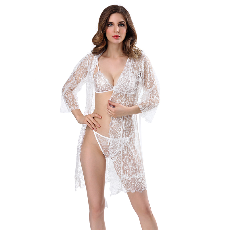 Buy Sexy Lingerie Robe Dress Women Lingerie Sexy Hot Erotic Plus Size Nightwear Sex Costumes Kimono Bathrobe Dressing Gown