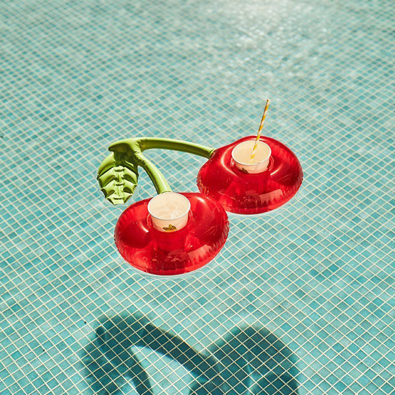 Cherry Shaped Red Swimming Pool Drink Holders Party Adult Inflatable Pool Accessories Double Kids Swimming Floating