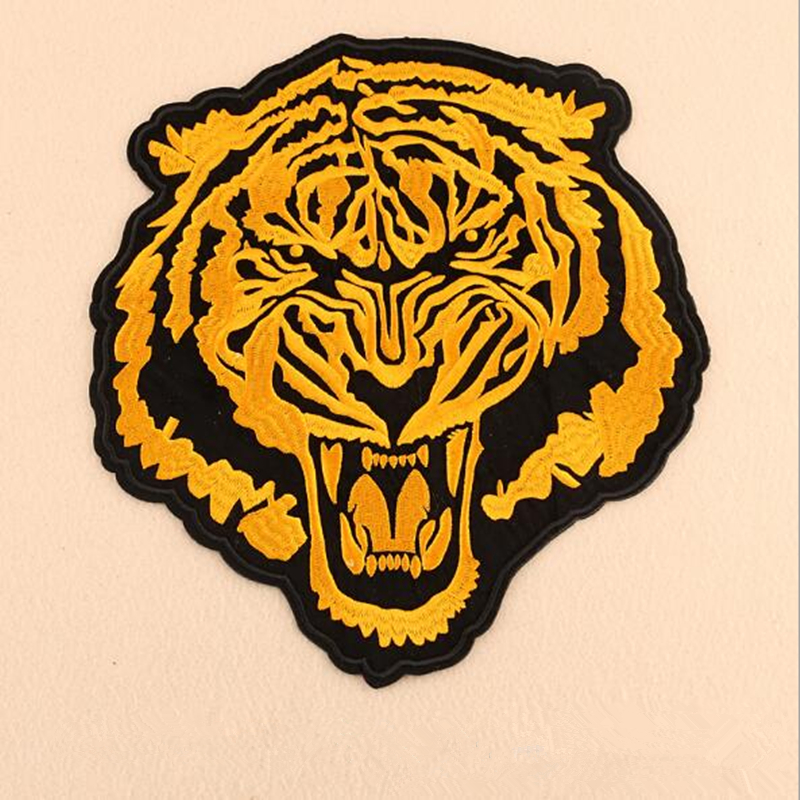 Tiger Head Biker Jeans Costume Black /& White iron-on Embroidered Patch Logo