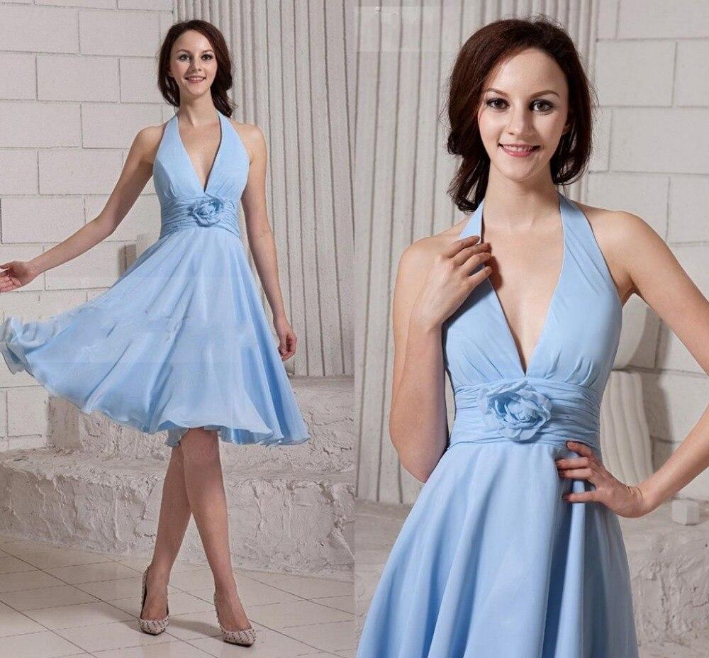 Halter Empire Short Sky Blue font b Bridesmaid b font font b Dresses b font 2016