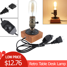 Retro Style Industrial Single Socket Table Bedside Desk Lamp Wooden Base Creative Edison Light Bulb  Home Shop Decoration