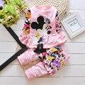 Последняя Весна Принцесса Минни мультфильм шаблон спортивный костюм два набора из высококачественного хлопка девушки костюмы размер 80-110 СМ