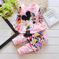 The latest Spring Princess Minnie cartoon pattern sports suit two sets of high-quality cotton girls suits size 80-110CM