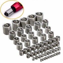 60 pçs prata M3-M12 rosca reparação inserir kit conjunto de aço inoxidável para ferramentas de reparo de ferragens