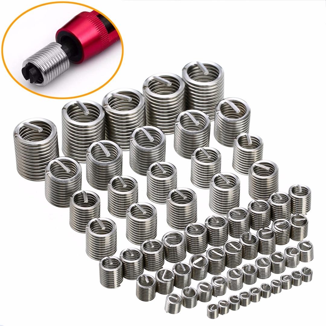 60 stücke Silber M3-M12 Gewinde Reparatur Einsatz Kit Set Edelstahl Für Hardware Reparatur Werkzeuge