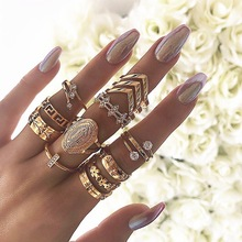 13pc/set Bohemia Virgin Mary Cross Star Flower Leaves Ring 2019 New Crystal Gold Set Women Vintage Jewelry Gifts