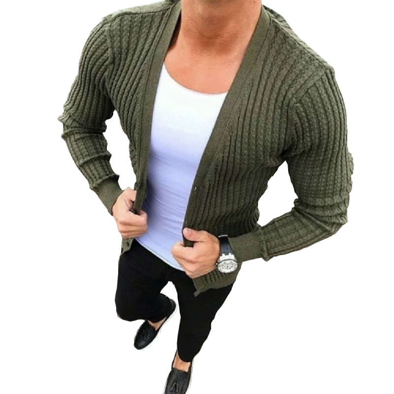 Men's Slim Knitted Cardigan Sweaters 2019 New Autumn Men Casual Plus Size Cotton Sweater Fashion Sexy Green Knitwear Coat M-3XL