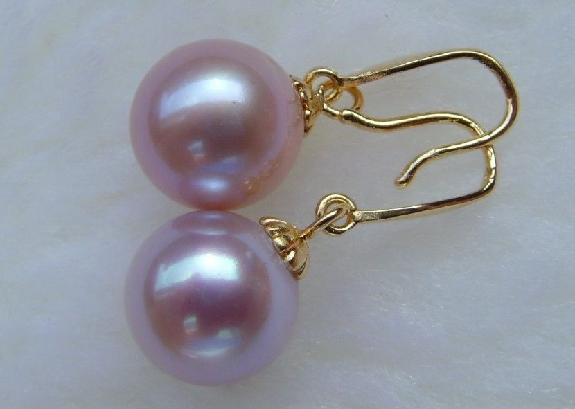 free shipping Pair of 9MM round AAA++ south sea purple pearl drop earrings 14k/20 Gold a set front