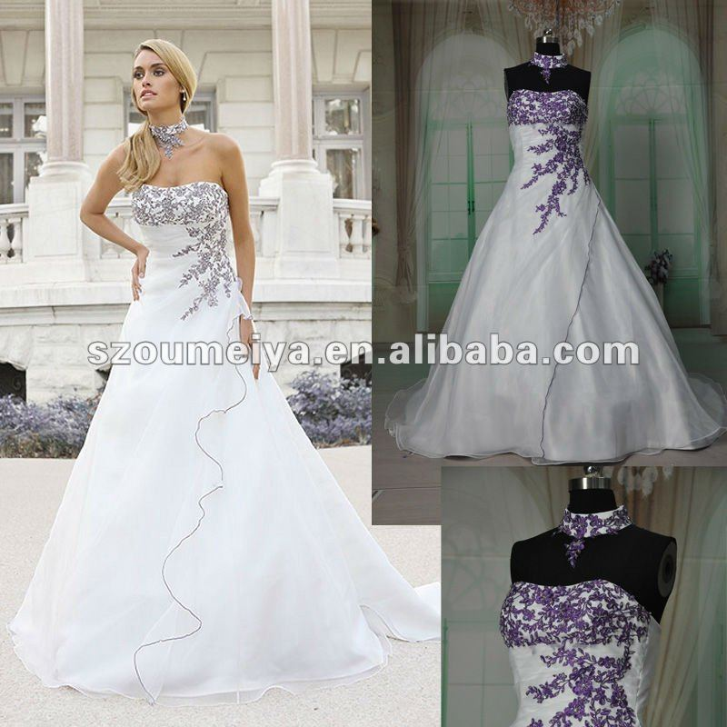 Free Shipping Oumeiya ORW215 Organza A Line Magazine Style Purple And White Wedding Dress 2015