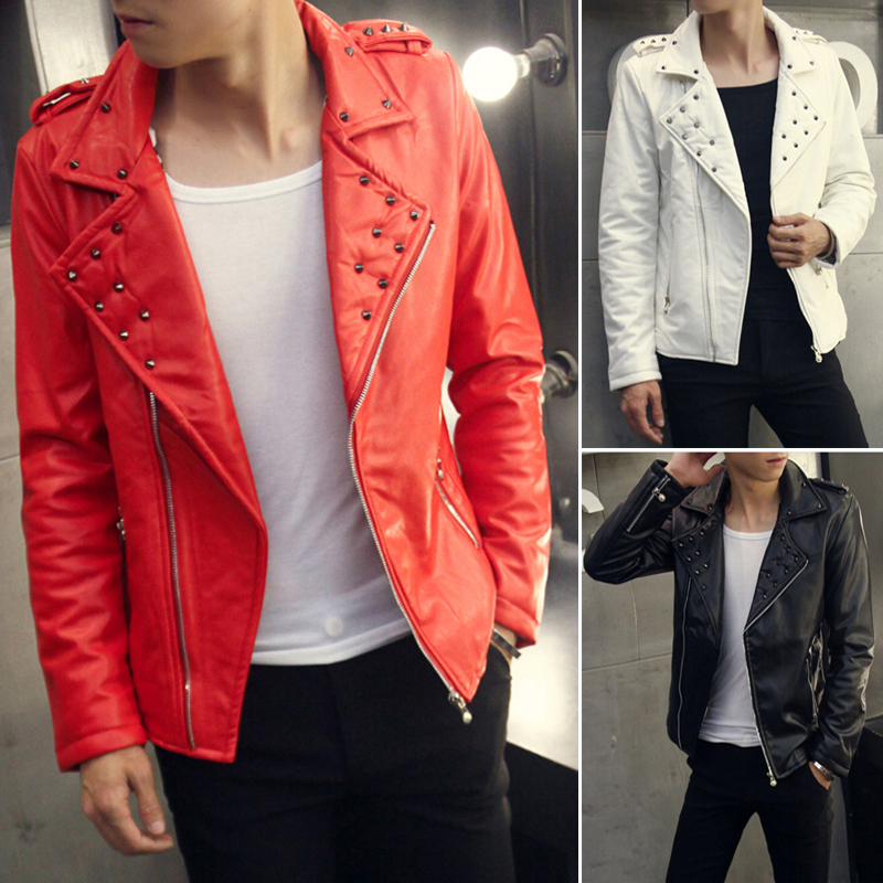 Popular White Leather Studded Jacket-Buy Cheap White Leather