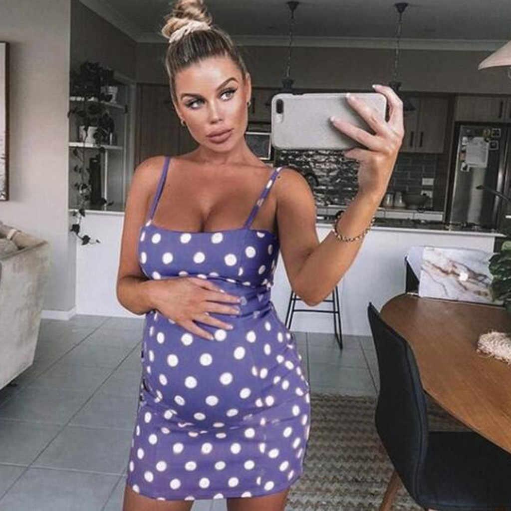 Женский сексуальный горошек для беременных без рукавов для кормящих Бохо мини-платье для беременных для грудного вскармливания элегантная одежда для кормления Пижама
