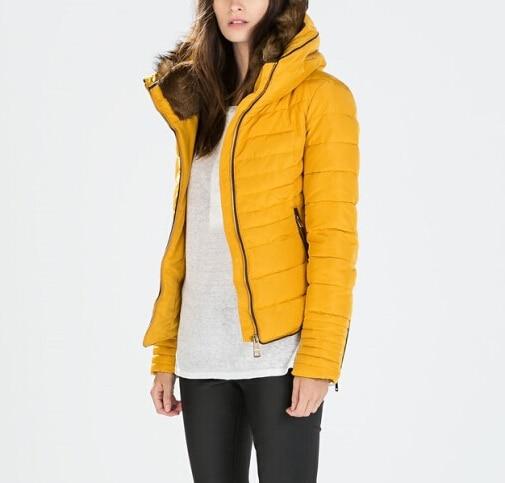 ФОТО ZA Authentic 2014 Winter New Women Stand Fur Collar Slim anorak with fur collar Jacket Ladies Down Parka With Hoodie chaqueta
