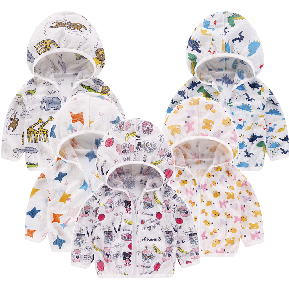 Summer Hooded Baby Sunscreen Clothes Children Clothes With Hat Very Thin Sun Protection Girl Boy Cartoon Outwear Outdoor Jacket
