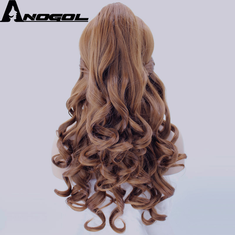 Image 3 - Anogol Belle Beauty And The Beast Natural Long Body Wave Clip Ponytail Brown Princess Synthetic Cosplay Wig For Halloween Party-in Synthetic None-Lace  Wigs from Hair Extensions & Wigs
