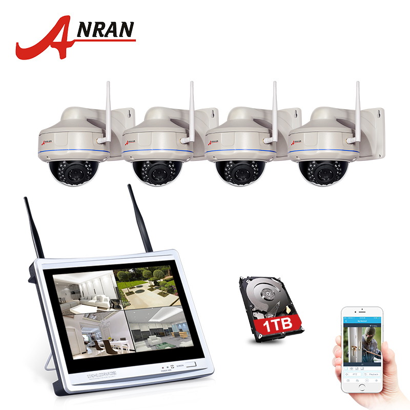 ANRAN P2P 4CH NVR 12'' LCD Monitor Vandal-Proof Dome Outdoor 30 IR 1080P IP Wireless WIFI Camera Security CCTV System 2TB HDD anran plug and play 4ch cctv system wifi nvr kit p2p 1080p hd ir ip camera wifi outdoor cctv camera security system 2tb hdd