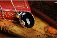 925 Yintai cash funds gem Black Pendant palace retro silver jewelry