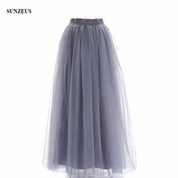 1c54f46d284f11 Women Long Tulle Underskirts Grey Bridesmaid Dress Skirts Simple Elegant  Petticoat For Prom Party Dress Underwear