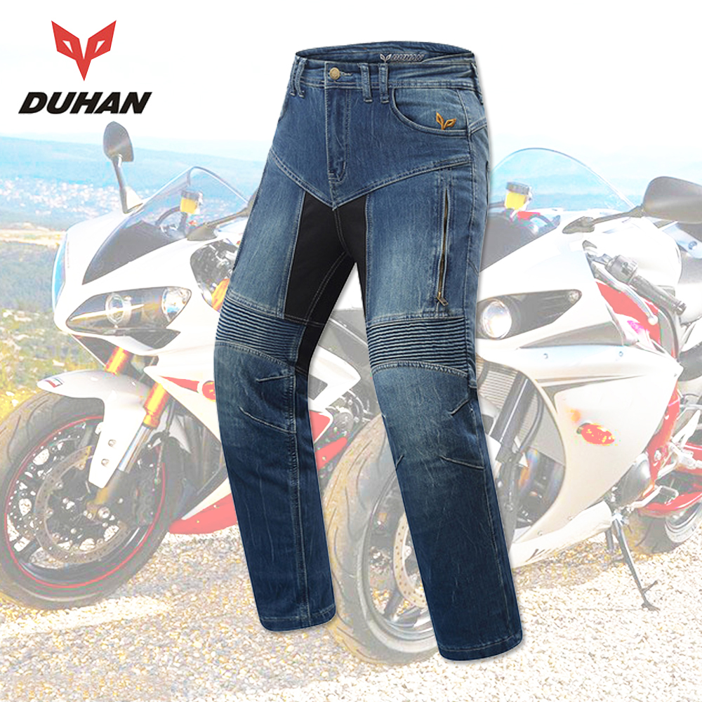 цены DUHAN Motorbike Jacket Set Men Motorcycle Jeans Motocross Pants Riding Pantalon Moto Knee Protective Gear Motorcycle Pants