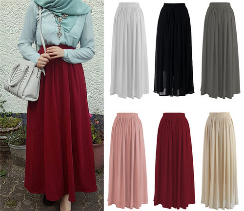 2018 Fashion Chiffon Muslim Women Pleated Skirt Elegant Islamic Clothing Ankle-Length Middle East Long Bottoms Dress