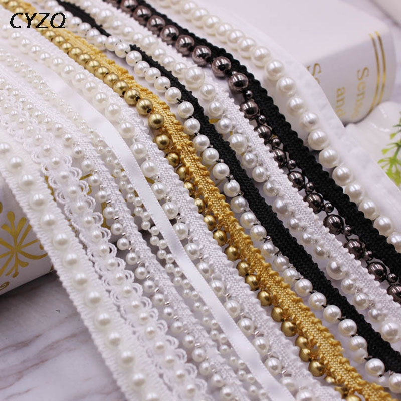 1yard 10mm White/black/gold Pearl Beaded Embroidered Lace Trim Ribbon Fabric Handmade DIY Sewing Supplies Craft Decoration