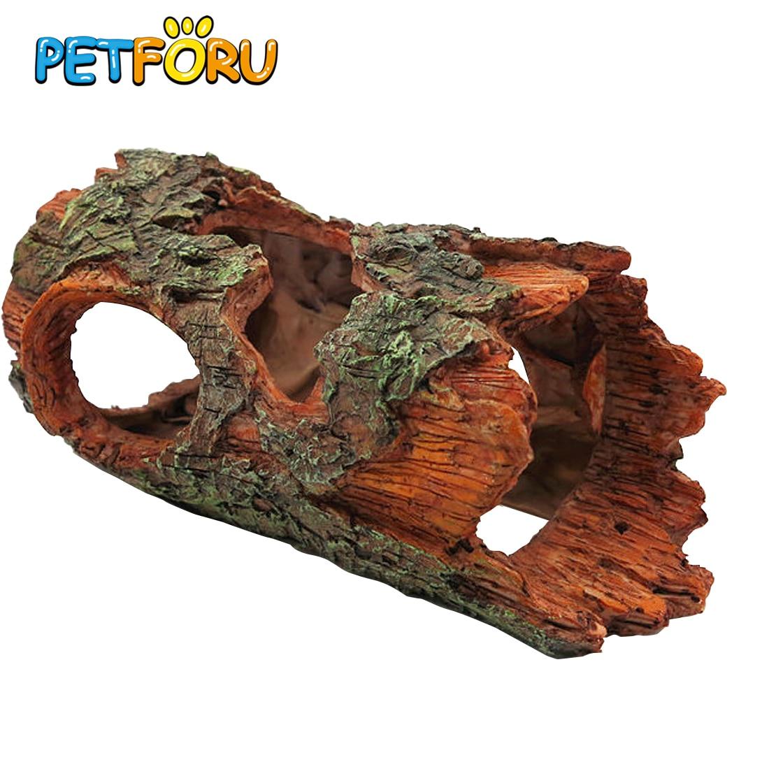 Petforu 23.5*14*10.5CM Simulation Resin Tree Bark Hiding Cave Reptile Aquarium Habitat Landscaping Ornament