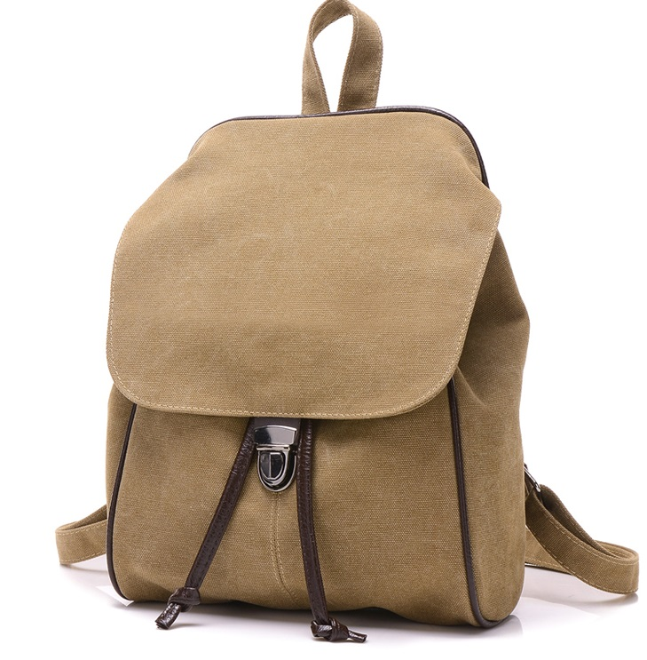 2016 Fashion simple solid color casual canvas shoulder bag high school students travel backpack 1149