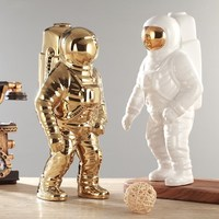 Creative Space Man Astronaut Sculpture Rocket Plane Cosmonaut figure model Ceramic Material Statue Home Decorations Figurines