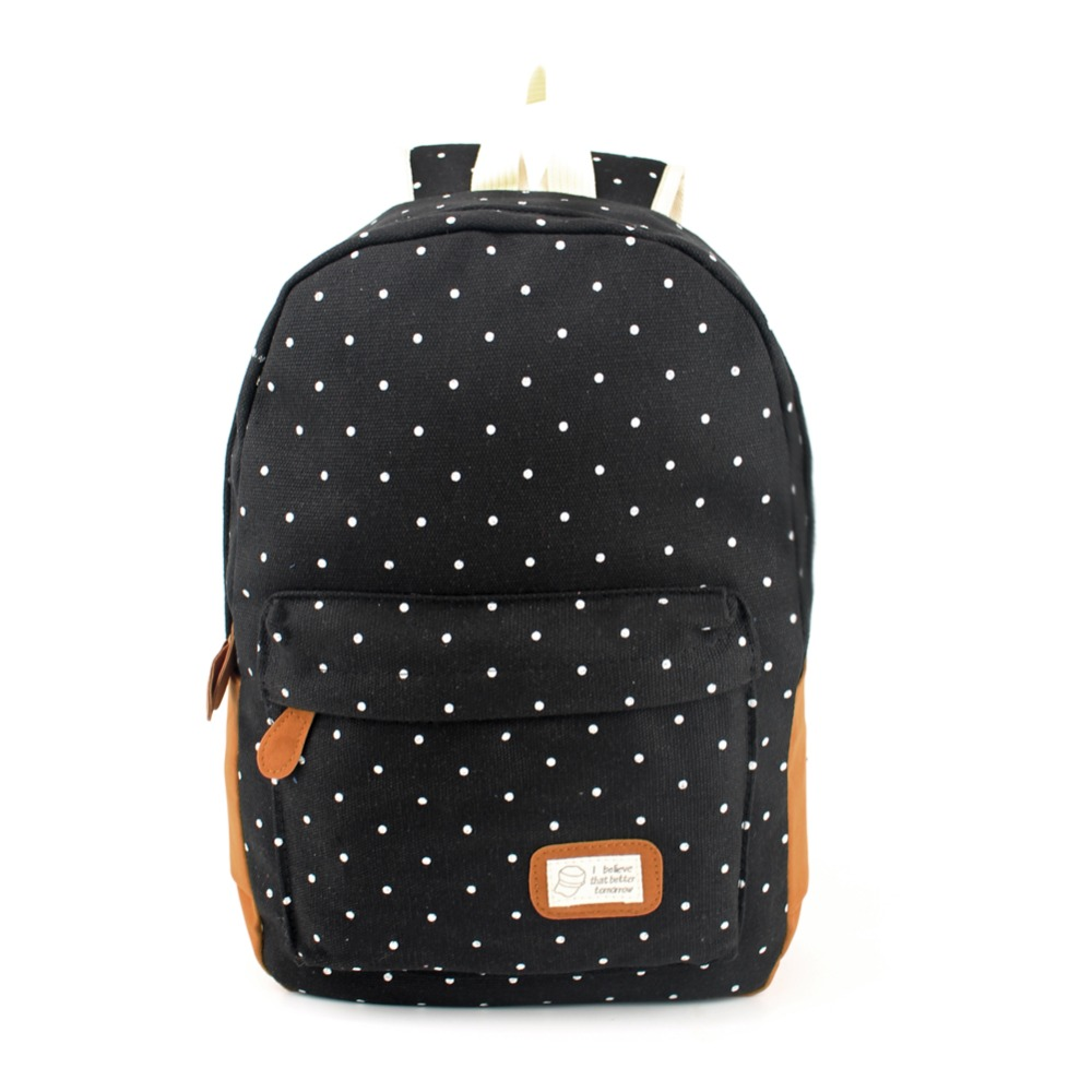 Hot Sale Women Canvas Backpack Dot Printing Backpack School Bag for Teenager Girls Casual Female Travel Rucksack Mochilas 2016 hot sale fashion canvas cute mustache school book bag vintage women backpack casual women backpack