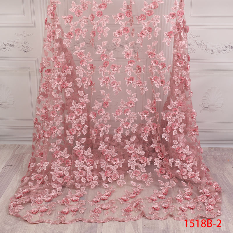 Latest Nigerian Handmade 3d Flowers Tulle Lace Fabric 2018 African class Design Pink Lace Add beads lace fabric XZ1518B 2