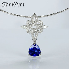 Simffvn Halo 0.96CT Round Cut 18k White Gold  Natural Blue Pear Shape Sapphires Gemstone Anniversary Wedding Necklace For Women