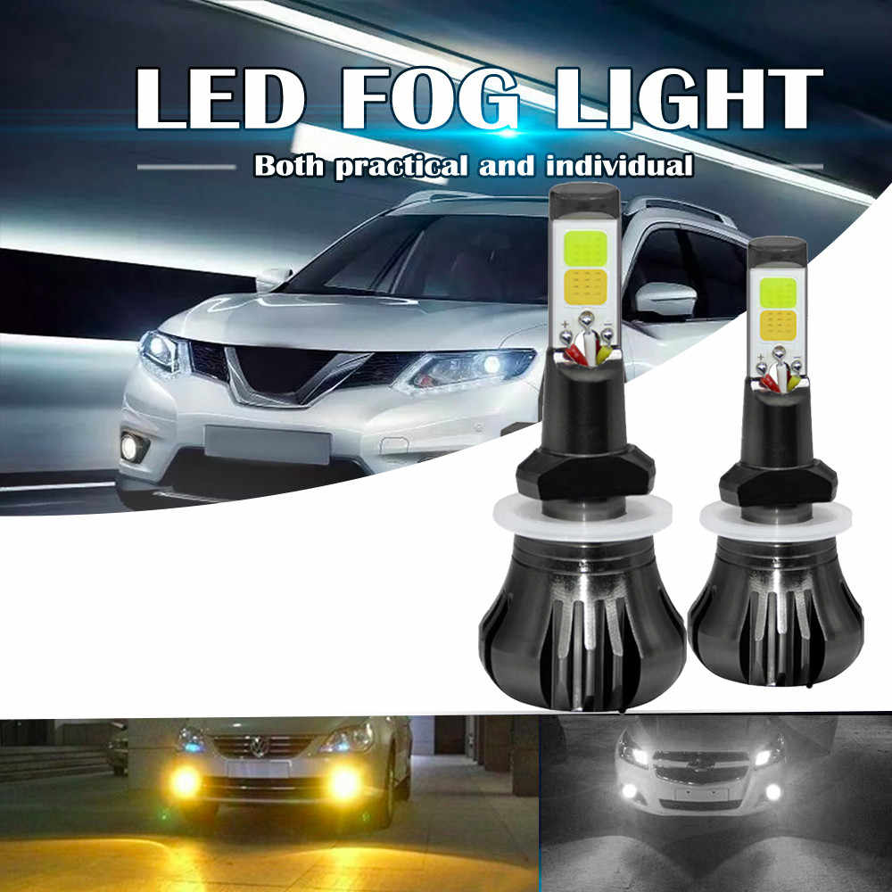 2pcs/lot Dual Color in 1 160W 880 881 H8 H9 H11 LED Fog Light Bulbs 3000K Yellow + 6000K White Colors Strobe Lamp COB Bulb Kit