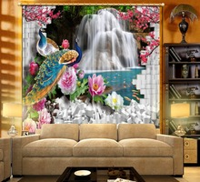 modern living room curtains 3D Curtain Printing Blockout Polyester Chinese Sun Photo Drapes Fabric For Room
