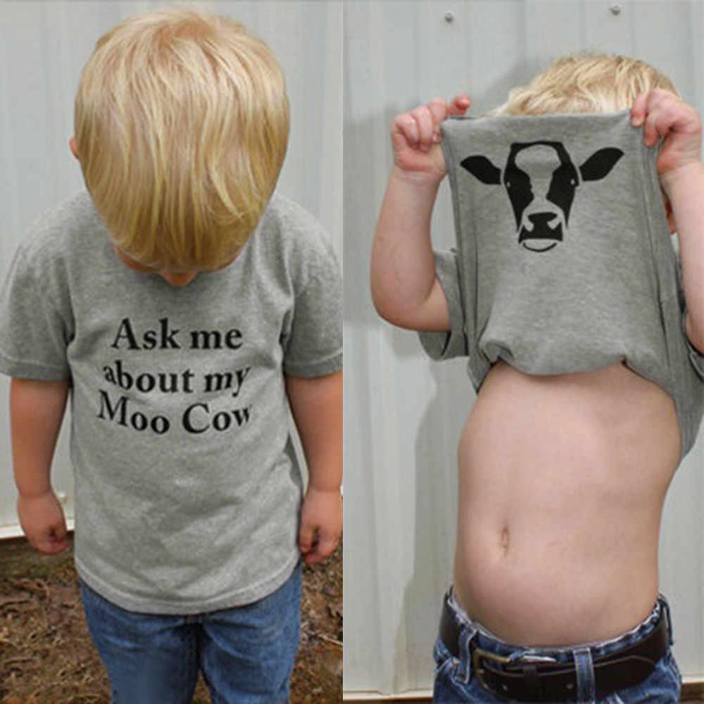 מכתב מודפס ילדים ילדי חולצה לשאול לי על שלי מו פרה תינוק בנות בנים פרה בתוך מכתב רך חולצות חמוד חולצה בגדים
