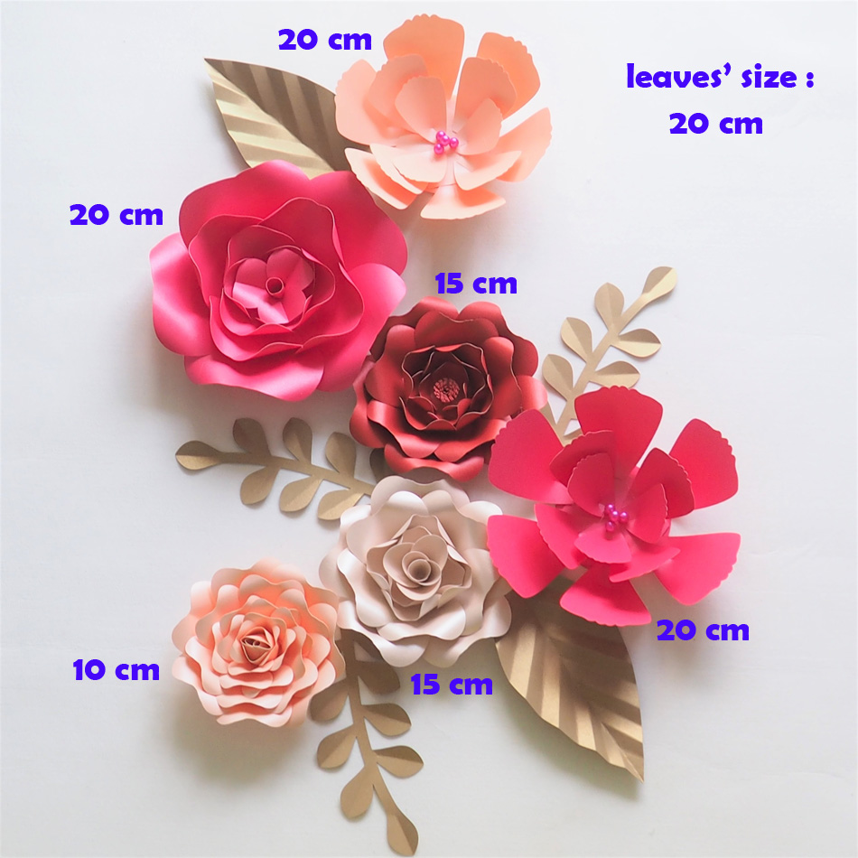 Us 28 56 49 Off Diy Giant Paper Flowers Backdrop Artificial Handmade Paper Rose 6pcs Leaves 5pcs Wedding Party Deco Home Decoration Video In Party