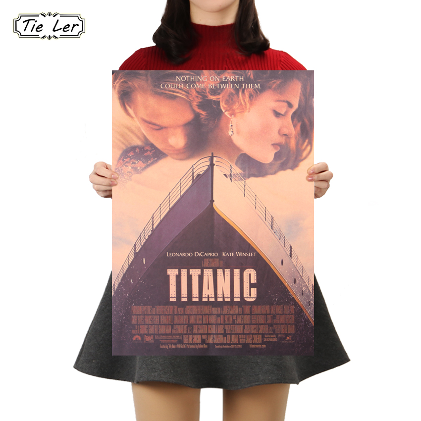 TIE LER Titanic Classic Movie Kraft Paper Bar Cafe Poster Retro Home Decorative Painting Wall Sticker 50 5x35cm in Wall Stickers from Home Garden
