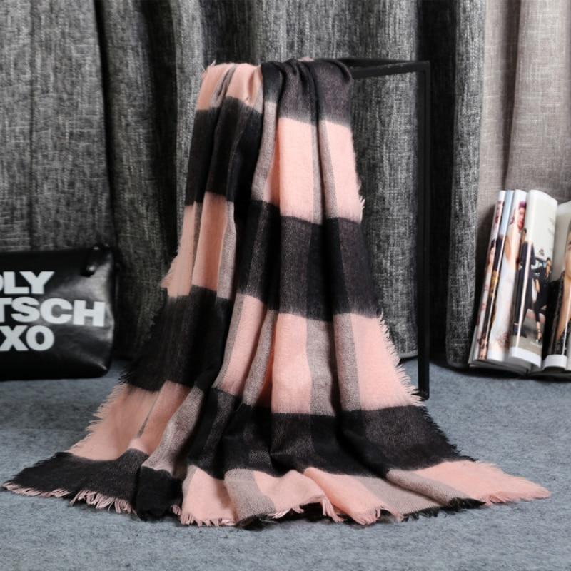 Winter Autumn Plaid Female   Scarf   Women Fashion Worsted Unisex Acrylic Basic   Wrap   Shawls womens Knitted Fall Cashmere Blanket