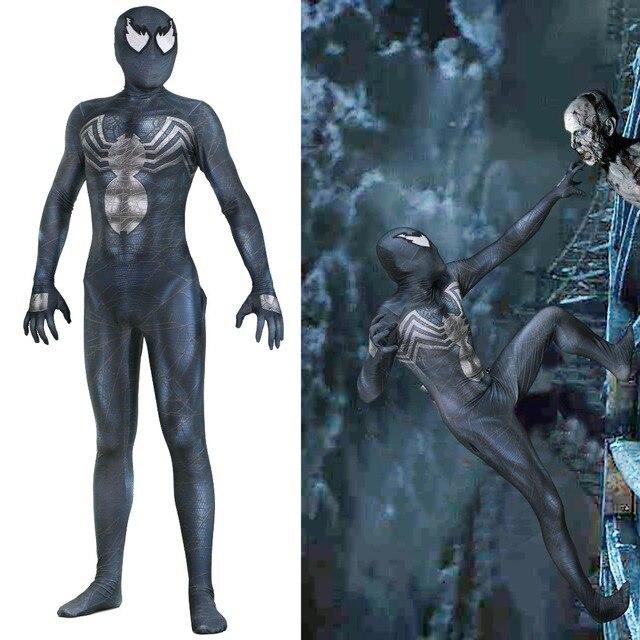 Edward Brock Cosplay Zentai Spiderman Venom Spider Man Preto Padrão Terno Bodysuit Macacões para crianças adulto Halloween