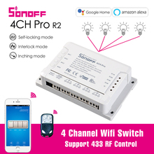 Sonoff 4CH Pro R2 Smart Wifi Switch 4Gang Light Switch 433MHz Remote Control Wifi Relay Ewelink APP With Alexa Google home