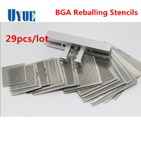 Newest 29pcs Universal Direct Heating BGA Stencils Templates Reballing Jig For Chip Rework Repair Soldering Kit