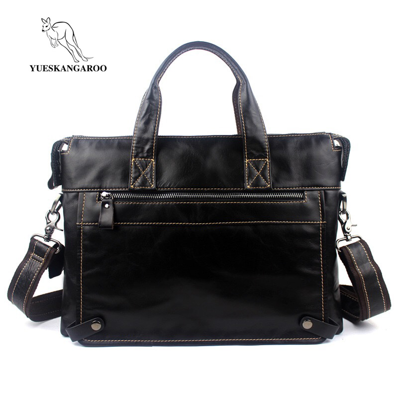 YUESKANGAROO  Business Briefcase Genuine Leather Man 14 Laptop Handbags Large-Capacity Travel Men's Messenger Crossbody Bag men genuine leather bag messenger bag man crossbody large shoulder bag business tote briefcase brand handbags laptop briefcase