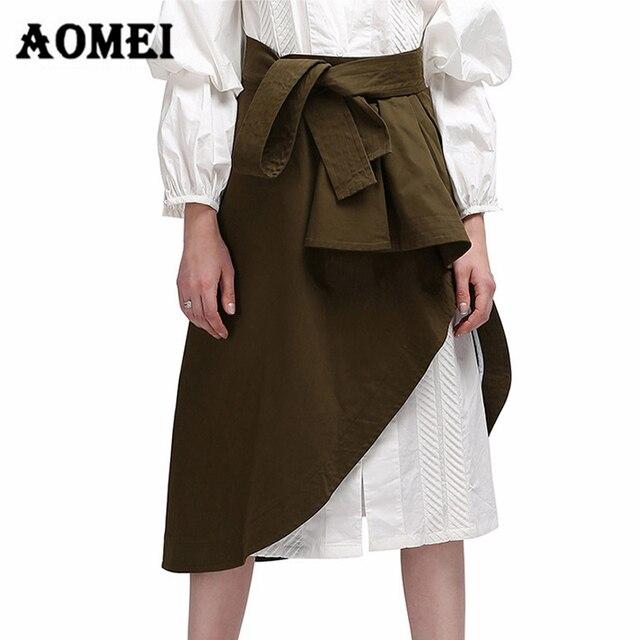 Wrap Skirt with Waist Belt Split Irregular Summer Autumn Skirts Army Green  Split Casual Womens Jupes Female Faldas Tutu Saias